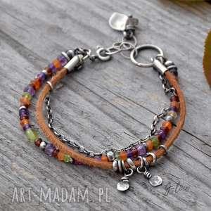 kolorowa jesień surowa srebrna bransoletka, srebro, jesienna, rzemień, ametyst