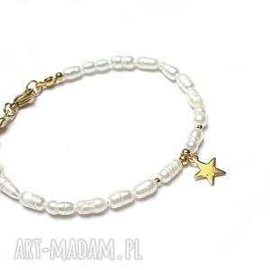 pearls /white/ perły naturalne vol 2-bransoletka, stal szlachetna