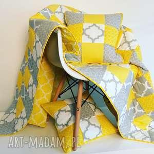 ręcznie zrobione koce i narzuty narzuta yellow and grey 117x217cm patchwork