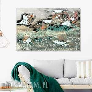 grafika na płótnie żurawie, pod niebem 120 x 80, elegancki minimalizm, obraz