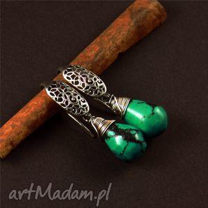 turkus i ażur, srebro, kolczyki, kolczyki biżuteria