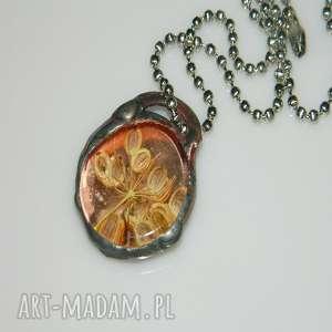 esterka szklany witraż, wisior, wisior miedziany, unikalna biżuteria