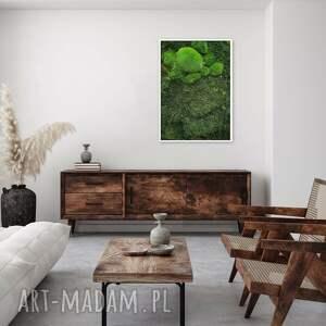 obraz z prawdziwego, naturalnego mchu trójwymiarowy zielony w ramie