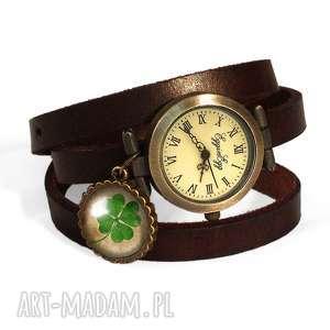 koniczynka na szczęście - zegarek bransoletka na skórzanym