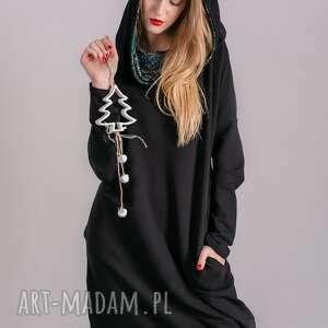 sukienka z kominem oversize czarna wzorem, spódnice, marynarka