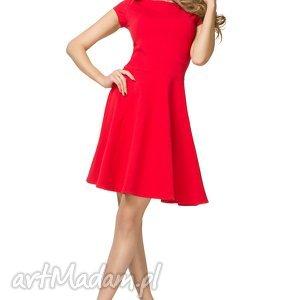 Bawełniana rozkloszowana sukienka T184, czerwony, sukienka, bawełniana,