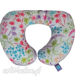 handmade pokoik dziecka poduszka podróżna, wzór rajski ogród, fioletowa