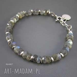 Labradoryt z przekładkami - bransoletka irart srebro,