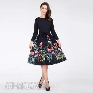 sukienki sukienka marie 3/4 midi malwina, sukienka, midi, rozkloszowana, pasek