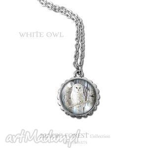 ręczne wykonanie naszyjniki medalion, naszyjnik - biała sowa mały