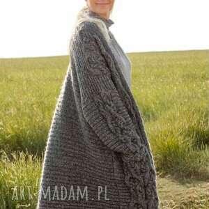 sweter płascz laval, wełniany, luksusowy, miękki, prezent, dziergany, ręcznie