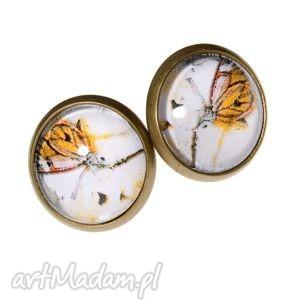 Kolczyki sztyfty z motylami 4 B693, wkretki, sztyfty, motyle, retro