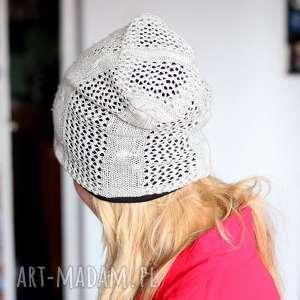 hand made czapki czapka na podszewce damska ażurowa wiosenna