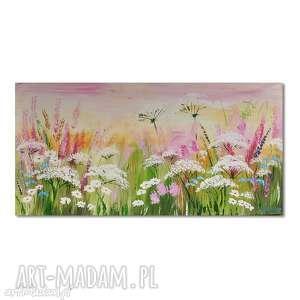 pastelowa łąka,obraz ręcznie malowany, łąka, kwiaty, nowoczesny, obraz
