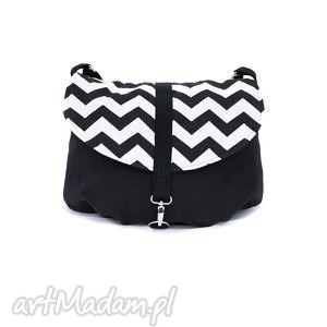 czarno-biały chevron - torba, torebka, chevron, zygzag