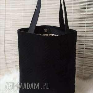 Torba shopperka czarna na ramię fabryqaprzytulanek torba