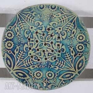 folkowa mydelniczka ceramiczna, mydelniczka, podstawka, na-mydło, dekoracyjna