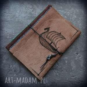 handmade notesy notes a5 ze skórzaną miękką okładką drakkar - ręcznie robiony i malowany