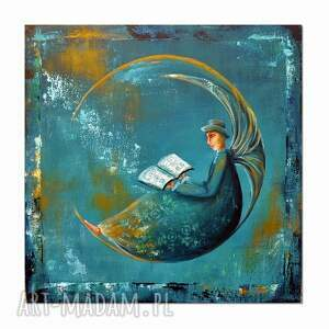 anioł bibliofil 3, obraz ręcznie malowany, collage, obraz, anioł