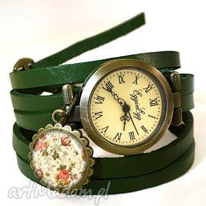 retro róże - zegarek bransoletka na skórzanym pasku prezent