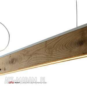 lampa rift 120 cm, dół, satyna, stare drewno, z odzysku, łódki flisackie, jesion