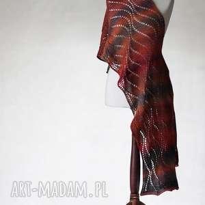 wielokolorowy aŻurowy szal z weŁny superwash - szal, handmade, knitwearfactory