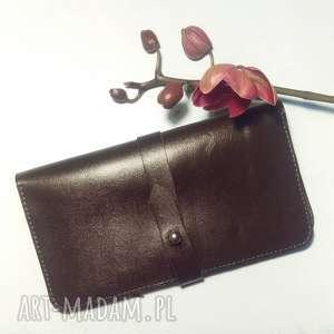 hand-made portfele portmonetka na karty i dokumenty z paskiem brązowa