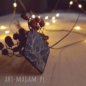 Drewniany wisior grawerowany, moonlight minimalist art, drzewo, gałąź, las, noc