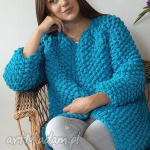 blue Chunky, sweter, dziergany, chunky, gruby, druty