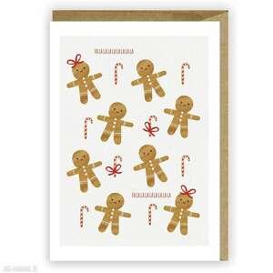 kartka bożonarodzeniowa - pierniczki cardie, świąteczna