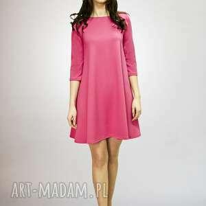 7 - sukienka fuksja, sukienka, sukienki, dzianiny, trapez, rozkloszowana, mini