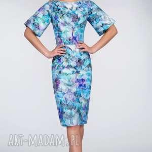 Sukienka MAJA Midi Markiza, rękawy, dopasowana, żakard, kwiaty, midi, ołówkowa