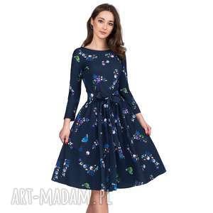 Sukienka MARIE 3/4 Midi Penelopa, midi, kwiaty, rozkloszowana, wiązanie, pasek,