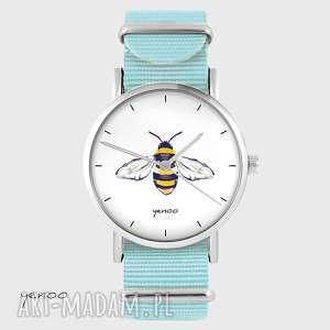 zegarek - pszczoła niebieski, nato, zegarek, bransoletka