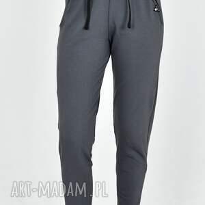 ręcznie wykonane spodnie dresowe waleria ciemno popielate