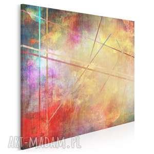 obraz na płótnie - abstrakcja kolory linie w trójkącie 80x80 cm 73302