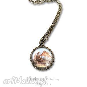 medalion, naszyjnik - smok - mały - antyczny brąz - naszyjnik, medalion, medalik