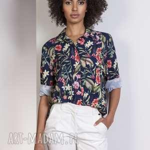 koszula oversize, k108 kwiaty, koszula, kieszenie, casual, luźna