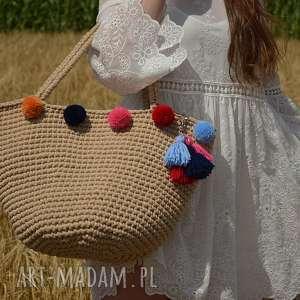na ramię kosz plażowy, koszyk, bag, szydełkowy, boho, elegancki
