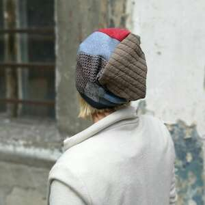 ręcznie wykonane czapki czapka damska patchworkowa rozmiar uniwersalny, ciepła