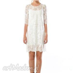 milita nikonorov świetlana midi - koronkowa sukienka ecru, ślubna, koronka, ecru