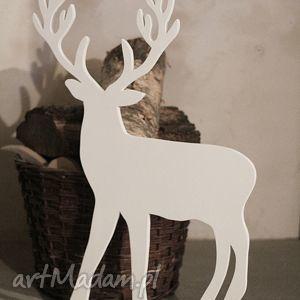 seehome renifer 74cm, renifer, drewniany, biały, dzieci, ozdoba, dekoracja