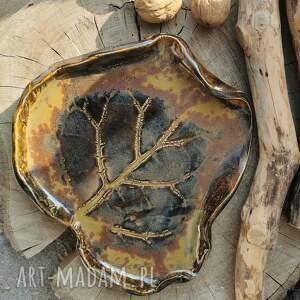 święta, ceramiczna patera c257, talerz, patera, ceramiczny, liść, podstawka