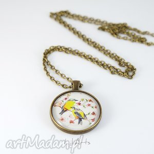 naszyjnik, medalion - ptaszki - naszyjnik, medalion, ptak, grafika, szkiełko, prezent