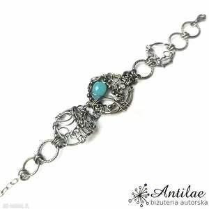 widowiskowa bransoletka srebrna wire wrapping, niebieski, neon