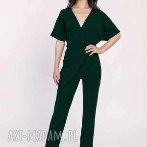 spodnie kombinezon damski z ozdobnymi zakładkami, kb115 butelkowa zieleń