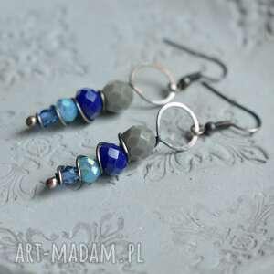 w błękicie - kolczyki kolorowe, z kryształkami, długie