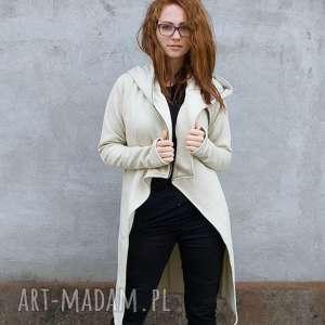 Płaszcz Asmi z kapturem asymetryczny, bluza, ciepła, na-zamek, z-kapturem, dzianina,