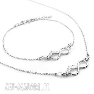 srebrny komplet nieskończoność piórko, srebrny, komplet, infinity