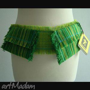 handmade paski pas zielony z kieszeniami:)